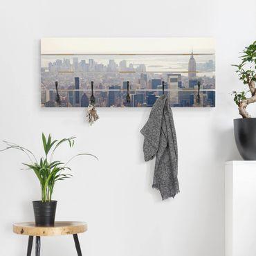 Wandgarderobe Holz - Der Morgen in New York