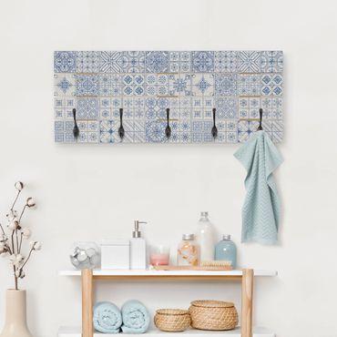 Wandgarderobe Holz - Fliesenmuster Coimbra blau