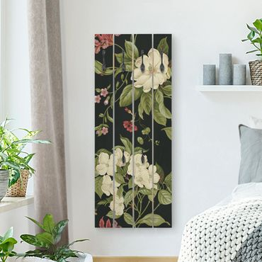 Wandgarderobe Holz - Gartenblumen auf Schwarz I