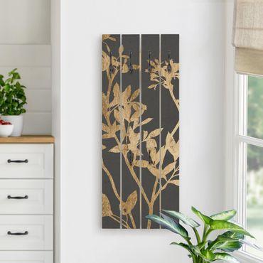 Wandgarderobe Holz - Goldene Blätter auf Mokka II