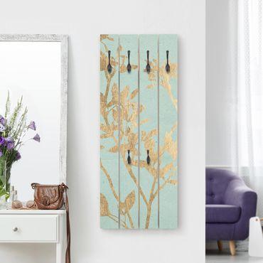 Wandgarderobe Holz - Goldene Blätter auf Turquoise II