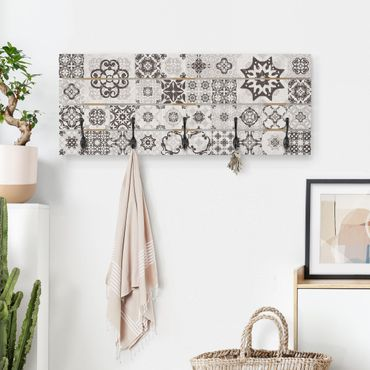 Wandgarderobe Holz - Keramikfliesen Agadir grau