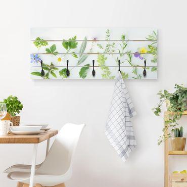 Wandgarderobe Holz - Kräuter und Blüten
