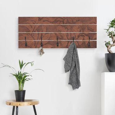 Wandgarderobe Holz - Lederstruktur