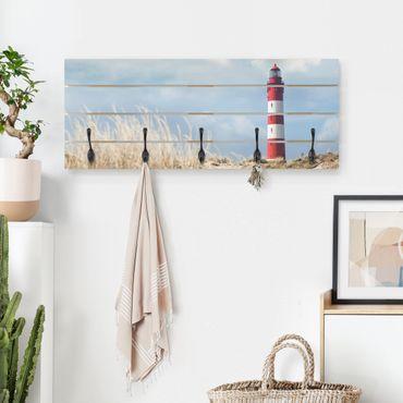 Wandgarderobe Holz - Leuchtturm in den Dünen