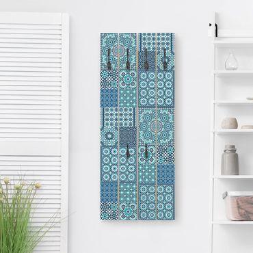 Wandgarderobe Holz - Marokkanische Mosaikfliesen türkis blau