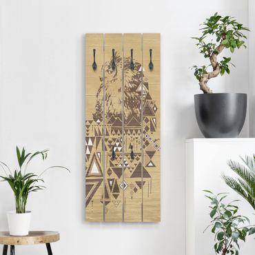 Wandgarderobe Holz - No.MW17 Indianische Eule