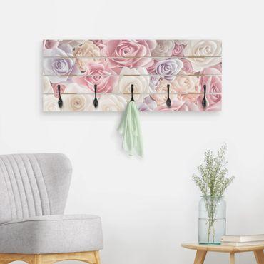 Wandgarderobe Holz - Pastell Paper Art Rosen