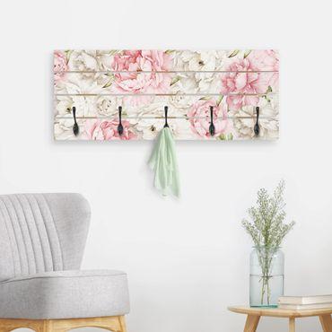 Wandgarderobe Holz - Pfingstrosen Rosé Weiß
