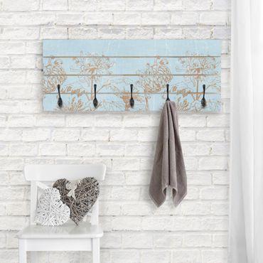 Wandgarderobe Holz - Radierung in Blau