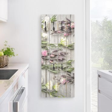 Wandgarderobe Holz - Shabby Rosen auf Holz