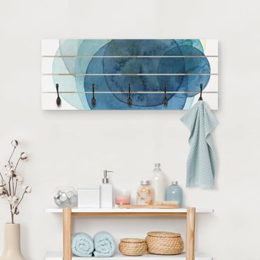 Wandgarderobe Holz - Urknall - blau