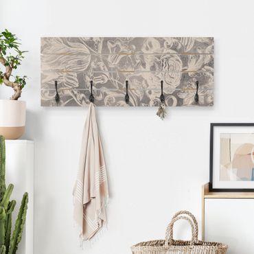 Wandgarderobe Holz - Verblühtes Blumenornament I