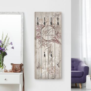 Wandgarderobe Holz - Welcome with Butterfly