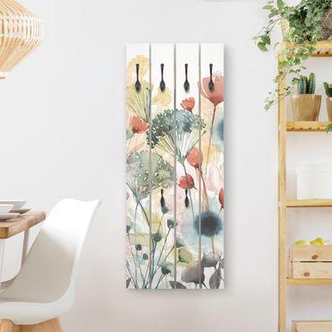 Wandgarderobe Holz - Wildblumen im Sommer I