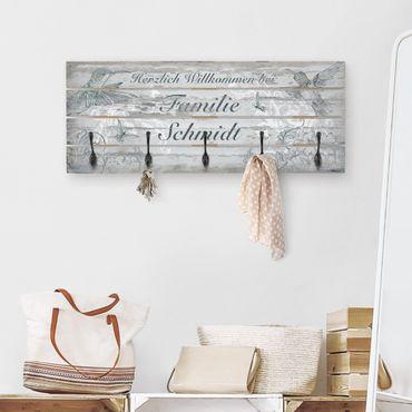 Wandgarderobe Holz - Willkommen bei Familie - Wunschtext