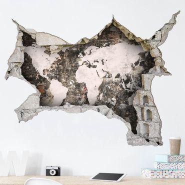 3D Wandtattoo - Alte Mauer Weltkarte - Quer 3:4