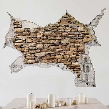 3D Wandtattoo - Amerikanische Steinwand - Quer 3:4