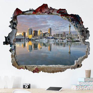 3D Wandtattoo - Auckland Skyline Sonnenuntergang - Quer 3:4