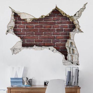 3D Wandtattoo - Backsteinwand rot - Quer 3:4