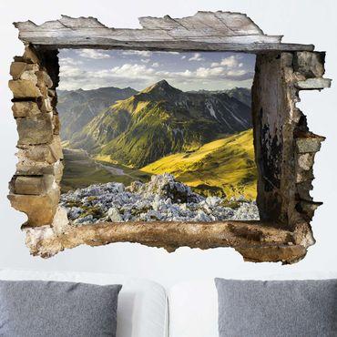 3D Wandtattoo - Berge und Tal der Lechtaler Alpen in Tirol - Quer 3:4