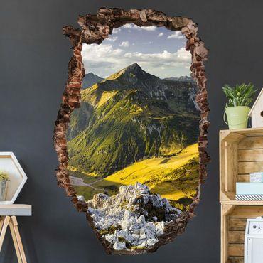 3D Wandtattoo - Berge und Tal der Lechtaler Alpen in Tirol - Hoch 3:2