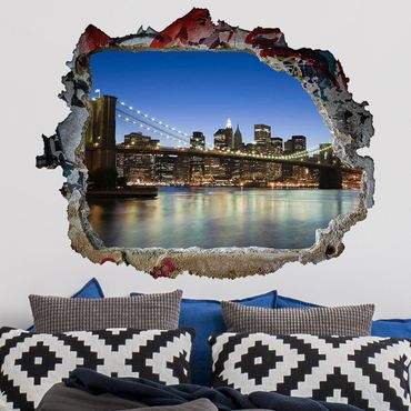 3D Wandtattoo - Brooklyn Brücke in New York - Quer 3:4