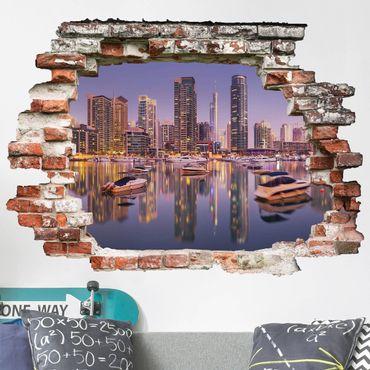 3D Wandtattoo - Dubai Skyline und Marina - Quer 3:4