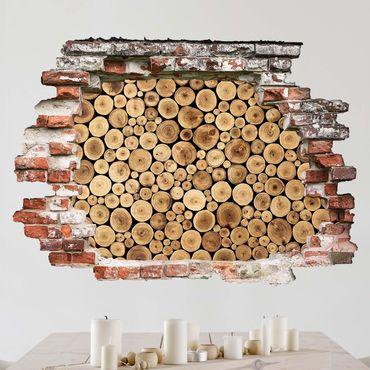 3D Wandtattoo - Homey Firewood - Quer 3:4