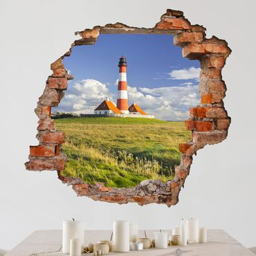 3D Wandtattoo - Leuchtturm in Schleswig-Holstein - Quadrat 1:1