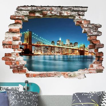 3D Wandtattoo - Nighttime Manhattan Bridge - Quer 3:4