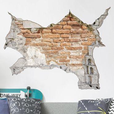 3D Wandtattoo - Shabby Backstein Wand - Quer 3:4
