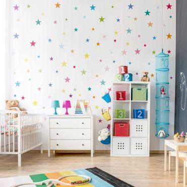 Wandtattoo 92 Bunte Sterne Kinderzimmer Set
