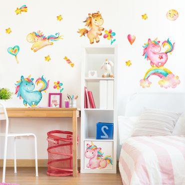 Wandtattoo Einhorn Aquarell Kinderzimmer Set