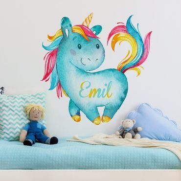 Wandtattoo Einhorn mit Kindername Wunschtext Türkis