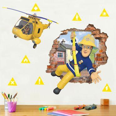 3D Wandtattoo - Feuerwehrmann Sam - bringt dich in Sicherheit