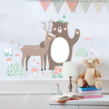 Wandtattoo Kindermuster Forest Friends mit Bär und Reh