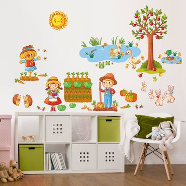 Wandtattoo Kinderzimmer Bauernhof-Set mit Garten