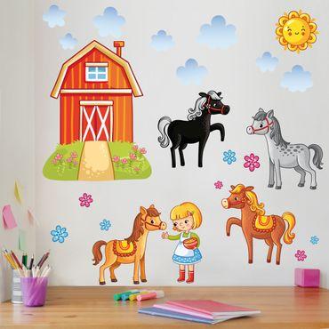 Wandtattoo Kinderzimmer Bauernhof-Set mit Pferden
