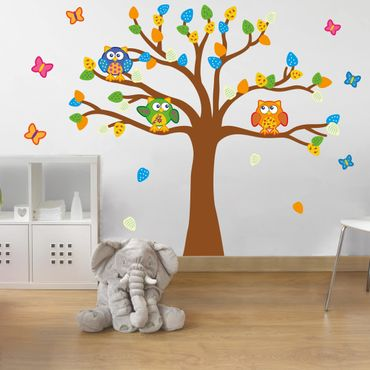 Wandtattoo Kinderzimmer Bunte Eulen