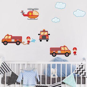 Wandtattoo Kinderzimmer Feuerwehr-Set mit Fahrzeugen