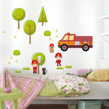 Wandtattoo Kinderzimmer Feuerwehr-Set mit Katzen