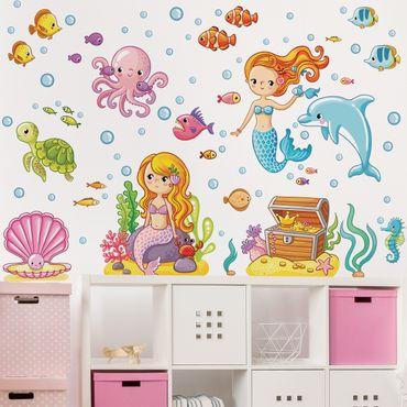 Wandtattoo Kinderzimmer Meerjungfrau - Unterwasserwelt Set