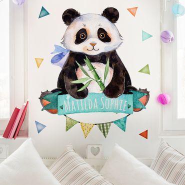 Wandtattoo Kinderzimmer Pandabär Aquarell mit Wunschtext