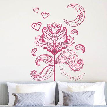 Wandtattoo - Lotus mit Mond und Herzen