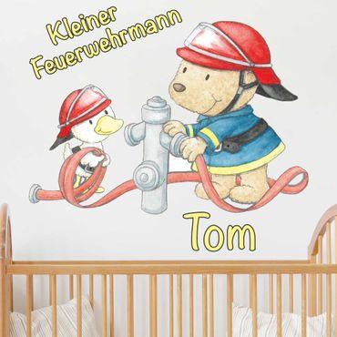 Wandtattoo mit Wunschtext - Kleiner Feuerwehrmann