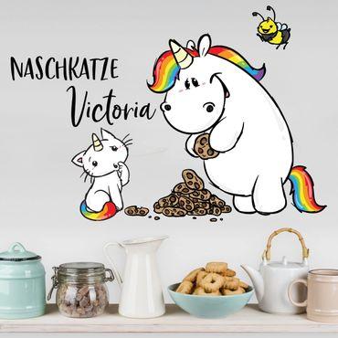Wandtattoo mit Wunschtext - Pummeleinhorn - Purricon Naschkatze