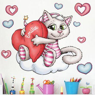 Wandtattoo mit Wunschtext Kinderzimmer - Schlafmützen - Katze Kimsi liebt dich