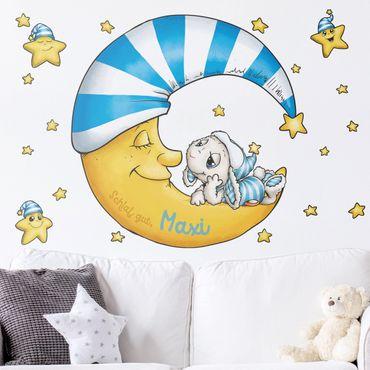 Wandtattoo mit Wunschtext Kinderzimmer - Schlafmützen - Schlummern mit Schaf Wulli
