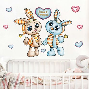 Wandtattoo mit Wunschtext Kinderzimmer - Schlafmützen - Zwillingshasen